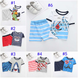 46f4812ce Summer Boys INS Shark Crab Pirate sets new children marine style cotton  Short sleeve T-shirt +shorts 2 pcs Suit baby clothes