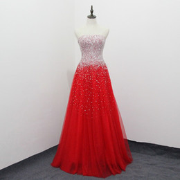 $enCountryForm.capitalKeyWord Australia - Sexy Red Wedding Dress Stunning Beads Sequins Long Bridal Gowns Strapless Lace-up Back Wedding Gowns( send with a petticoat)
