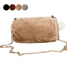 Autumn Winter New Arrival Lady Girls Sweet Hairball Crossbody Phone Purses  Bag Women Faux Rabbit Fur Chain Shoulder Handbag good quality 6998df1622b81