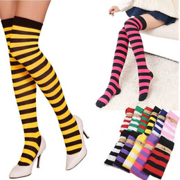 b1569cebf14 1Pair New Women Girls Over Knee Long Stripe Printed Thigh High Striped  Patterned Socks 11 Colors Sweet Cute Warm Wholesale Lot