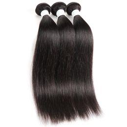 $enCountryForm.capitalKeyWord Australia - Brazilian straight hair bundles 3 pcs lot human hair weave natural black #1b remy hair weaving for black women 8a quality 100% human