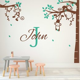 Wall Sticker Large Child Tree Australia - Corner Tree Wall Sticker Monkey wall decal with Personalized Name Sticker For Children Room Nursery Removable Wall Decor 710TC