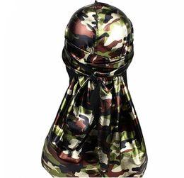 Camouflage Hats Australia - Simulation Silk Satin Durag Pirate Hat Bright Scarf Camouflage Long Tail Cloak Outdoor Multi Color Elastic Men Warm Popular