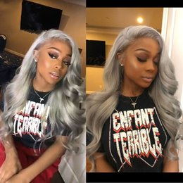 Long siLver cospLay wig online shopping - Sexy Popular Synthetic Lace Front Wig Women s Body Wave Grey Synthetic Hair Middle Part Cosplay Wigs Natural Hairline Silver Grey Long Wig