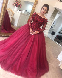 Cheap Sheer Top Prom Dress Australia - Cheap Hand Made Flowers Prom Dresses New 2019 Burgundy Tulle Sheer Long Sleeve Ball Gown Quinceanera Dress Top Lace Appliqued Evening Gowns