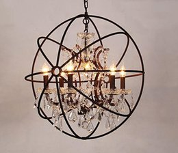 restoration lighting NZ - Rh Industrial Lighting Restoration Hardware Vintage Crystal Chandelier Pendant Lamp Foucault Iron Orb Chandelier Rustic Iron Gyro Loft Myy