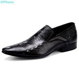 Men's Shoes Qyfcioufu 2019 Genuine Cow Leather Slip On Men Dress Shoes Fashion Retro Comfortable Crocodile Skin Shoes Business Casual Shoes