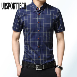 Wholesale short sleeve plaid shirt men for sale - Group buy URSPORTTECH Plaid Shirt Men Summer Short Sleeve Slim Fit Checkered Dress Shirt Summer Camisa Social Masculina Chemise Homme