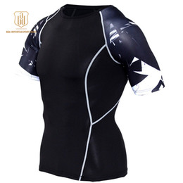 Wear Compression Shorts Australia - Running Shirt Men Compression Tights Fitness Top MMA Rashgard Anime 3D T Shirt Wolf Skull Short Sleeve Men Gym Wear A6