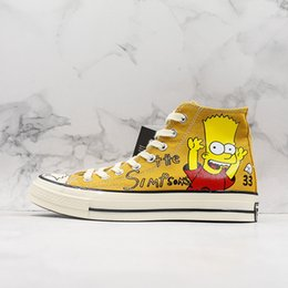 $enCountryForm.capitalKeyWord Australia - New Cute Designer Simpson x Convas 1970s Hi Donuts Hand-painted Limited Figurines Casual Sneaker Men Women High Yellow Sports Shoes
