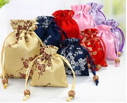 $enCountryForm.capitalKeyWord Australia - Latest Lucky Cherry blossoms Pouch Chinese Silk Pouch Brocade Drawstring Gift Bag Jewelry Pouch Small Christmas Cloth Bags 4pcs lot