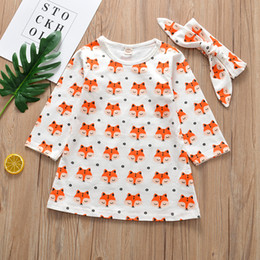 $enCountryForm.capitalKeyWord Australia - New Spring Infant Baby Girls Cartoon Fox Tops Dress + Headband Kids 2pcs Set Children Princess Cotton Dress 4450