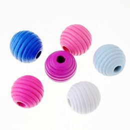 Kids Craft Making UK - beads 10pcs 20mm Wood Dye Thread Round Spacer For Baby DIY Crafts Kids Toys Spacer Beading Bead Jewelry Making DIY