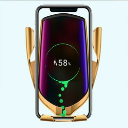 $enCountryForm.capitalKeyWord Australia - R1 Wireless Car Charger Automatic Clamping For iphone Android Air Vent Phone Holder 360 Degree Rotation 10W Fast Charging with Box