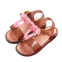 rubber stickers 2019 - Kids Baby Shoes Infant Girls Summer Cute Bowknot Magic Sticker Non-slip Sandals discount rubber stickers