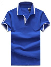 polo big horse UK - American Design Men Solid Polo Shirt Big Pony Embroidery Golf Horse Club Team Casual Polos Striped Collar Tees Shirts White Blue Grat