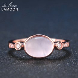 $enCountryForm.capitalKeyWord Australia - Lamoon 6x8mm 100% Natural Oval Pink Rose Quartz Ring 925 Sterling Silver Jewelry Rose Gold Romantic Wedding Band Lmri014 J190707