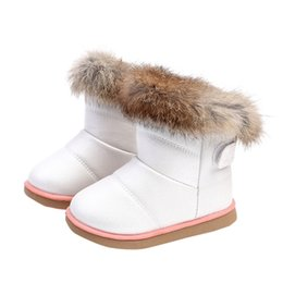 64a2d1346c11f good quality Cotton Winter Baby Boys Girls Child Leather Shoes Martin Boot  Warm Shoes Rabbit thick snow boots