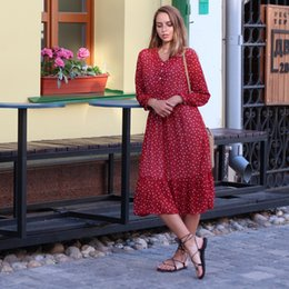 $enCountryForm.capitalKeyWord Australia - Bgteever Two Layers V-neck Dot Printed A-line Women Long Full Sleeve Female Chiffon Dress 2019 Elastic Waist Vestidos GMX190708