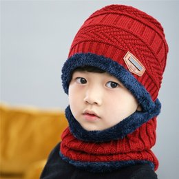 Cotton Winter Scarves Australia - New 2018 Baby Hat Scarf Coral Fleece Caps For Boy Girl Cotton Spring Autumn Winter Children Beanies Kids Photography Props 3-8 Years