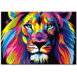 $enCountryForm.capitalKeyWord Australia - Lion Pop Art Oil Painting On Canvas Wall Art Decor Abstract Animals Handpainted &HD Print Wall Paintings Cuadros Pictures For Living Room