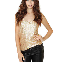 $enCountryForm.capitalKeyWord Australia - Womens Cami Vest Blouse Tank Tops Sequin Top Plus Size Tank Tops Sparkle Glitter Party Summer Sleeveless T Shirts Tunics