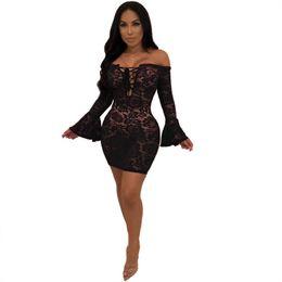 $enCountryForm.capitalKeyWord Australia - Sexy Black Sheer Floral Lace Dress Women Flare Long Sleeve Lace Up Off Shouler Bodycon Mini Dress Night Club Party Short Dress