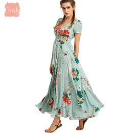 bohemian beige maxi dress Australia - Womens Dresses Summer Dress 2019 Maxi Floral Button Up Split Animal Print Flowy V Neck Beach Evening Party Dresses Vestidos