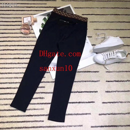 Wholesale women leggings bottom resale online - women pants Fashion Women Casual Leggings Black Elastic Trouser Tracksuit Bottoms Plus Size fashion slim hole sporting Leggings trousers