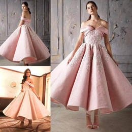 Dress maDe green lace online shopping - 2020 Gorgeous Pink Ball Gown Appliques Lace Prom Dresses Off The Shoulder Short Evening Gowns Ankle Length Pleated Formal Dress