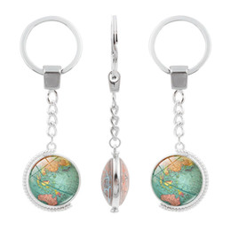 $enCountryForm.capitalKeyWord Australia - Vintage Globe Map Keychain Art Glass Round Dome Pendant Key Chain Fashion Jewelry Silver Key Ring Women Men Gifts