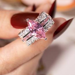 $enCountryForm.capitalKeyWord Australia - Big Hot Sale 3 style Luxury Marquise Cut 4 Carat pink stone Wedding Ring for Women Men Have S925 Logo Real 925 Silver Rings