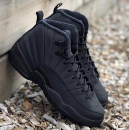 Winterized 12 preto antracite homens tênis de basquete 12 s wntr autêntico melhor qualidade tênis de esportes de fibra de carbono real bq6851-001 com caixa venda por atacado