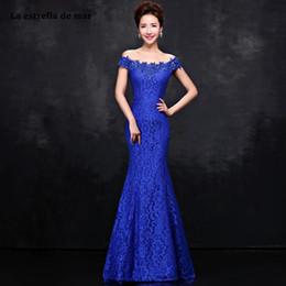 $enCountryForm.capitalKeyWord Australia - vestidos de madrinha new Boat Neck lace short sleeve royal blue red sexy mermaid bridesmaid dress long Wedding guest