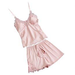 Pajamas Sets Silk Women Nightgowns Sexy Ladies Satin Nightwear Women Robe  Nighties Sleepwear shorts combinaison pyjama femme b80be002b