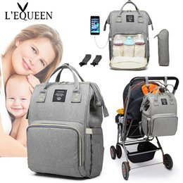 diaper backpacks purple UK - Lequeen Mummy Bag Diaper Bag Baby Care Large Capacity Mom Backpack Mummy Maternity Wet Waterproof Baby Pregnant