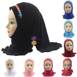 Discount scarf year old - Fashion Accessories Girls Kids Muslim Hijab Islamic Arab Scarf Shawls with Beautiful Flowers for 3 to 8 years old Girls