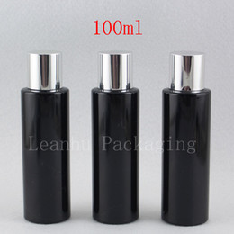 Packing For Cosmetics Australia - 100ml X 50 Empty Black Plastic Bottles With Silver Screw Lid , Lotion Plastic Bottle Lid,Shampoo Container For Cosmetics Pack