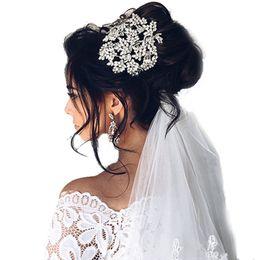 Quinceanera hair online shopping - crown pageant Hot European Designs Vintage Full Crystal Leaf Tiara Bridal Hair Accessories Wedding Quinceanera Rhinestone Crowns Pageant