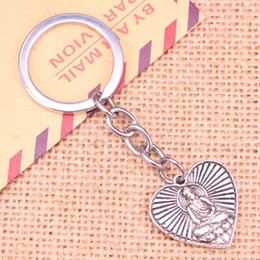 resin buddhas wholesale Australia - 20pcs New Fashion Keychain 23*24 mm buddhism heart buddha Pendants DIY Men Jewelry Car Key Chain Ring Holder Souvenir For Gift