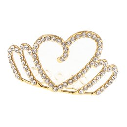 girls tiara combs UK - Girl Princess Rhinestone Tiara Crown with Comb Heart Crown for Little Girls Party Favors