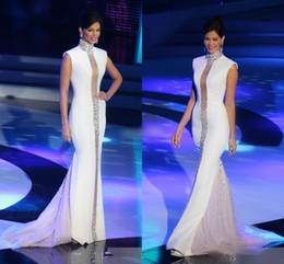 White Formal Evening Gown Sleeves Australia - Miss Universe Pageant Evening Dresses Long White High Neck Beaded Crystals Cap Sleeve Tulle Stain Mermaid Celebrity Gowns Formal prom dress
