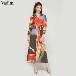 tie maxi dress Australia - Vadim Women Elegant Patchwork Print Maxi Dress Bow Tie Sashes Long Sleeve Pleated Female Office Wear Long Dresses Vestidos Qa483 MX190723