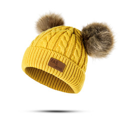 b71eae0d989 Baby Hat Pompon Winter Children Hat Knitted Cute Cap For Girls Boys Casual  Solid Color Girls Hat Baby Beanies