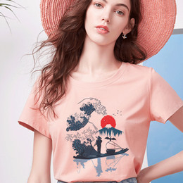 Wholesale giant t shirts for sale – custom 2019 New Japanese Style Giant Wave Impact Animal Print T Shirt Spoof Personality Vogue Harajuku Casual Loose Women Tops Clothing