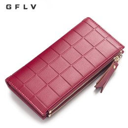 Discount wallets double zippers - GFLV Brand 2018 Luxury Plaid Long Wallet Women Double Zipper Clutch Large Capacity Phone Wallet High Quality PU Leather