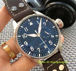 Men S Big Watch Australia - Wholesale - 2017 Top Quality Luxury Wristwatch Big Pilot Midnight Blue Dial Automatic Men&039;s Watch 46MM Men Mens Watch Watches.