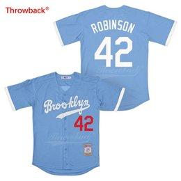 Discount jerseys throwbacks - Throwback Jersey Men's Brooklyn Jersey Robinson Baseball Jerseys Size S-XXXL Colour White Gray Blue Black Wholesale