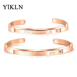 $enCountryForm.capitalKeyWord Australia - YiKLN Her King His Queen Infinity Love Couple Stainless Steel Open Bangle Bracelet Fashion Lover's CZ Crown Bracelet YOGH931R