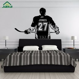 ice hockey player NZ - Wall Art Large Ice Hockey Player Custom Jersey Name and Number Vinyl Wall Decal Sticker Decor Kids Bedroom Gym Sports Mural